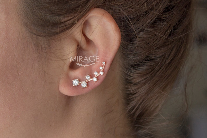 9a2f12afd Romantic Ear Climber Sterling Silver with Cubic Zirconia | Etsy