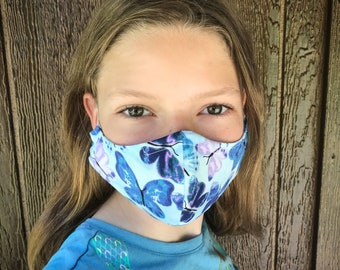 Childs face mask, girls mask, age 7-12 years. age 3-6 years, small child,  washable mask, filter pocket, wire nose bridge.