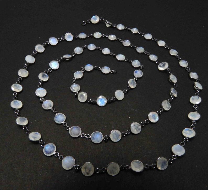 Moonstone Long Necklace 36 inch Rainbow Moonstone Necklace 7 mm Round Moonstone Bezel Set Gemstone Moonstone Necklace