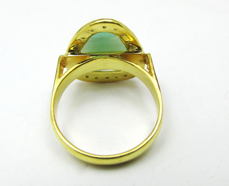 Natural Emerald /& Zircon Ring Engagement Ring Emerald Cut Ring Everyday Ring Classic Ring Gift