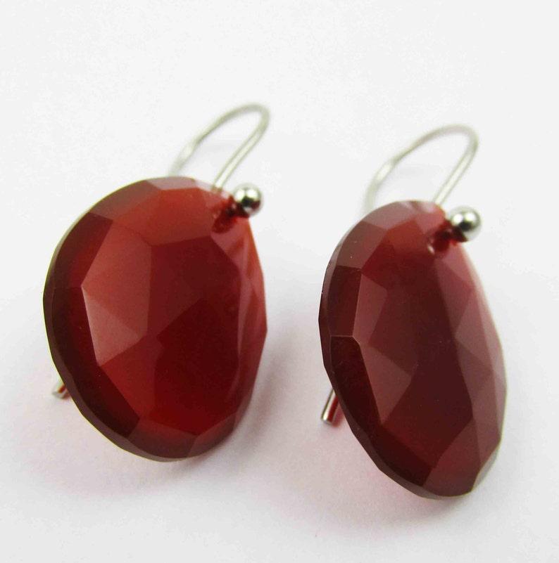 925 sterling silver red onyx earring rose cut earring red onyx stone red onyx faceted earring red onyx dangle earring