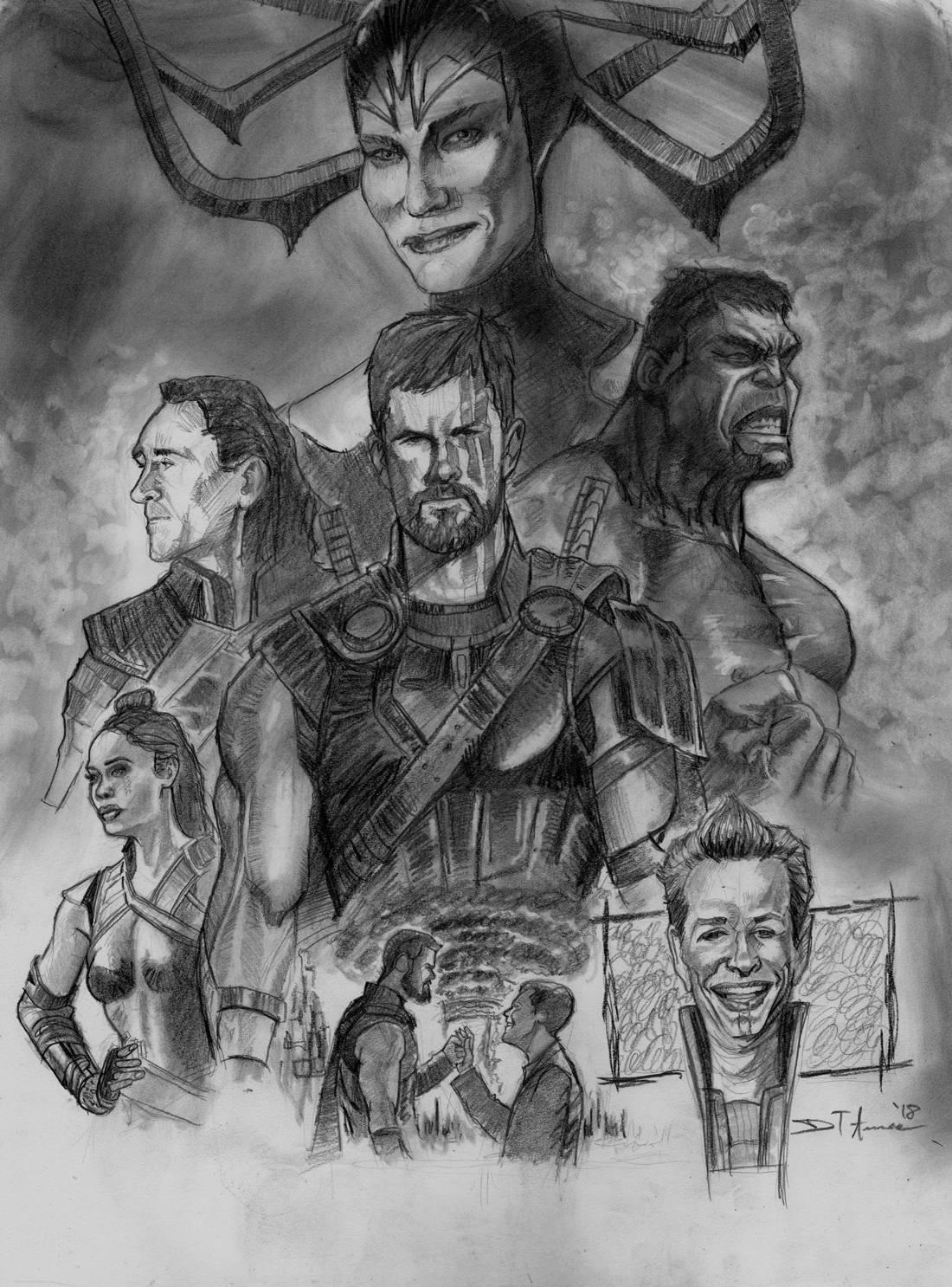 Thor ragnarok original pencil drawing