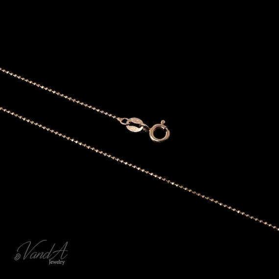 Rose Gold Plated Chain Necklace Italian Sterling Silver Rose Gold Plated Diamond Cut 1mm Bead Chain Thin Bead length 1618