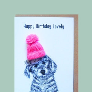 Happy Birthday Darling Daughter Teddy Perkins large handmade card. Bear with a pink woolly hat Illustration A5