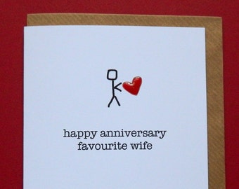happy anniversary favourite wife, wedding anniversary, red enamel love heart - Hand-enamelled art card.