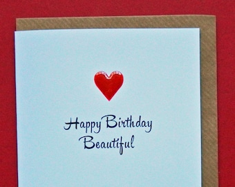 Happy Birthday Beautiful Red Enamel Love Heart Wife Girlfriend Daughter Friend