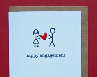 happy engagement, red enamel love heart - Hand-enamelled art card.