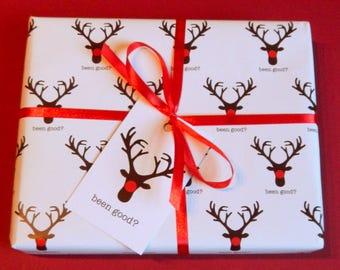 funny rudolf christmas wrap gift wrapping paper and gift tags - Funny Christmas Wrapping Paper