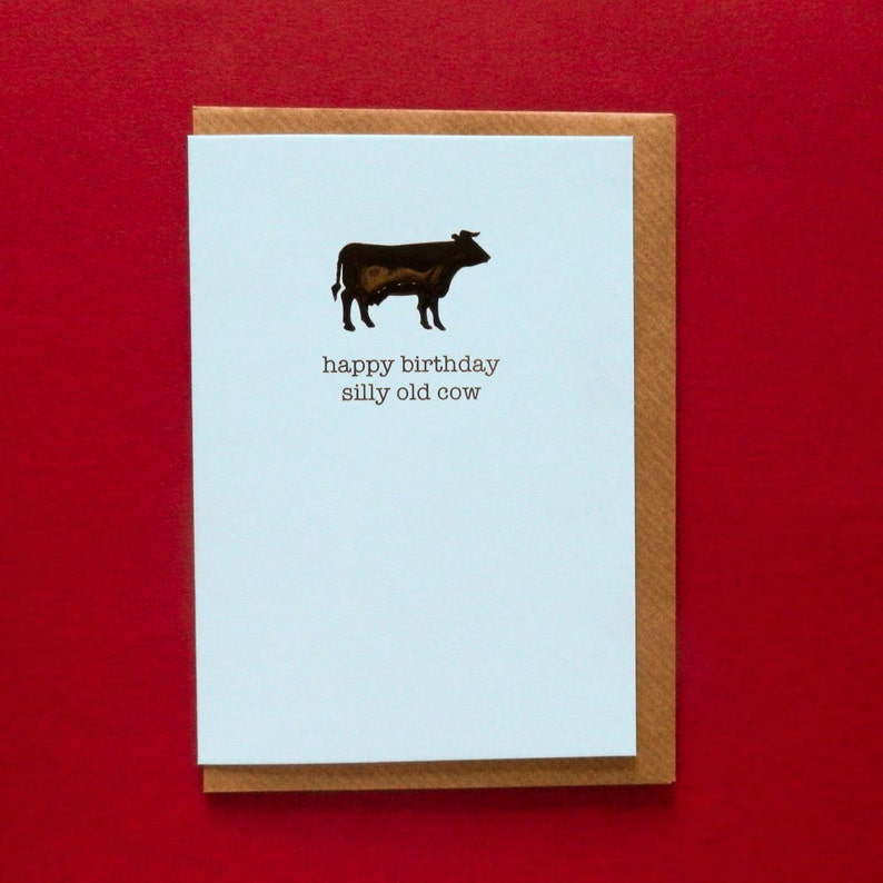 happy birthday silly old cow rude funny insulting  etsy