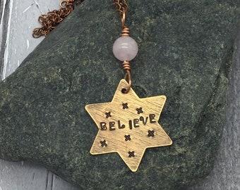 Copper Stamped Pendant, Rose Quartz and Copper Pendant, Hand stamped copper pendant, Copper Believe Pendant, Copper stamped necklace