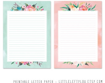Writing paper etsy uk printable letter paper floral stationery writing letter stationary a5 instant download littleleftylou flowers watercolor mightylinksfo