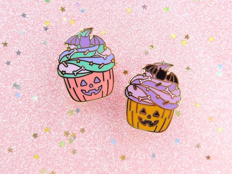 Halloween Cupcakes Enamel Pins spoopy pumpkin pin pastel image 0