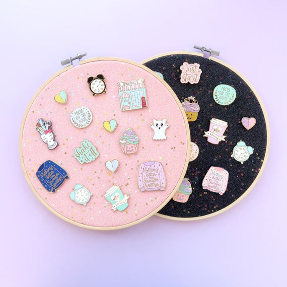 Pink Pin Board pin display embroidery hoop pink glitter   Etsy