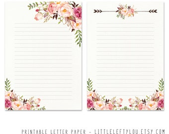 Printable Letter Paper Floral 2, stationery, writing, letter, stationary, A5, instant download, LittleLeftyLou, flowers, watercolor