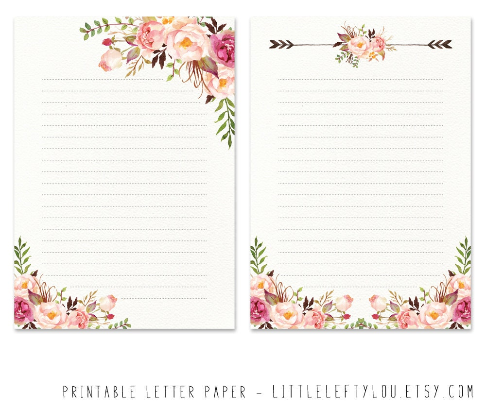 Printable Letter Paper Floral 2 stationery writing letter | Etsy