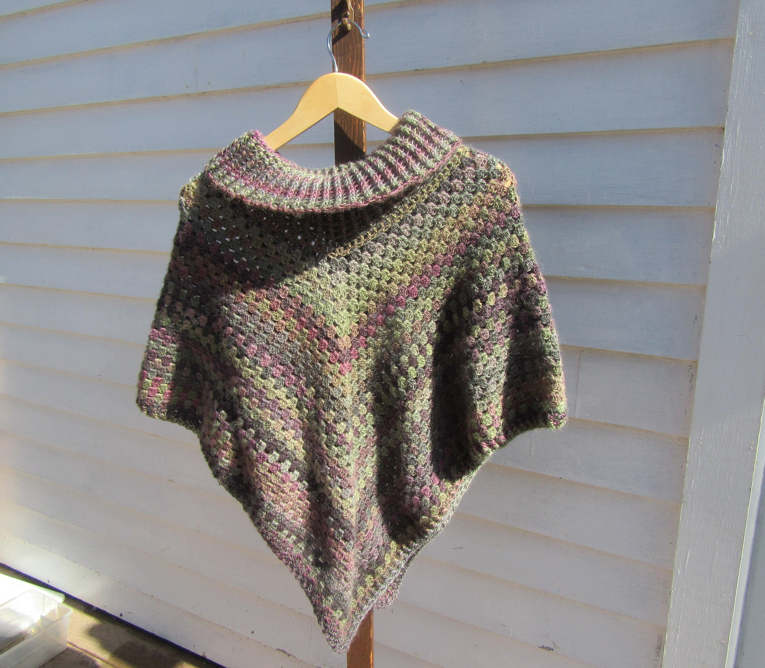 Hand Crocheted Cowl Neck Poncho For Ladies Teens Hand Etsy