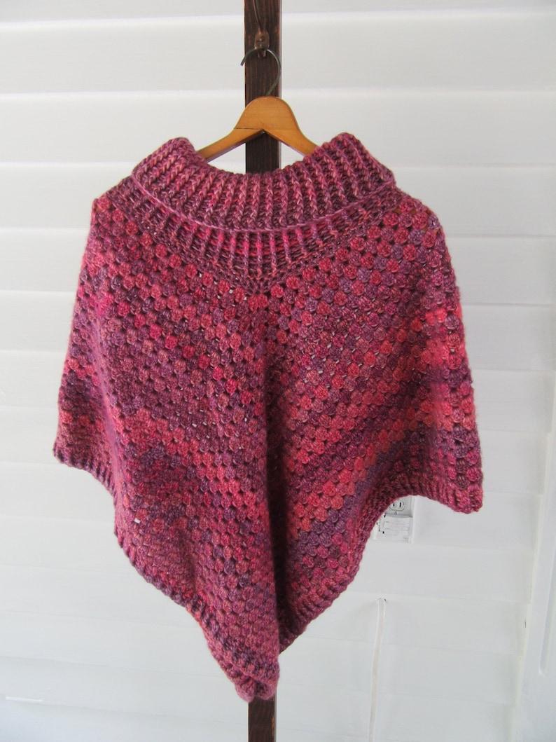 Pinkpurple Hand Crocheted Cowl Neck Poncho For Ladies Teens Etsy