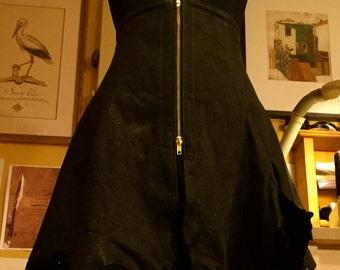 Black Steampunki-ish Corset-Skirt, waist reducing,  featuring uneven frayed edges