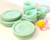 20pcs Fire King Jadeite Anchor Hocking Dinnerware Set Maxwell House Teacup Saucer Dinner Salad Plates Chili Bowls Restaurantware Thick