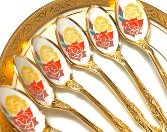NEW 16pcs Vintage Ornate Gold Plated Seafood Oyster Lobster Cocktail Fork Parfait Iced Ice Tea Spoon Teaspoon Flowers Royal Garden