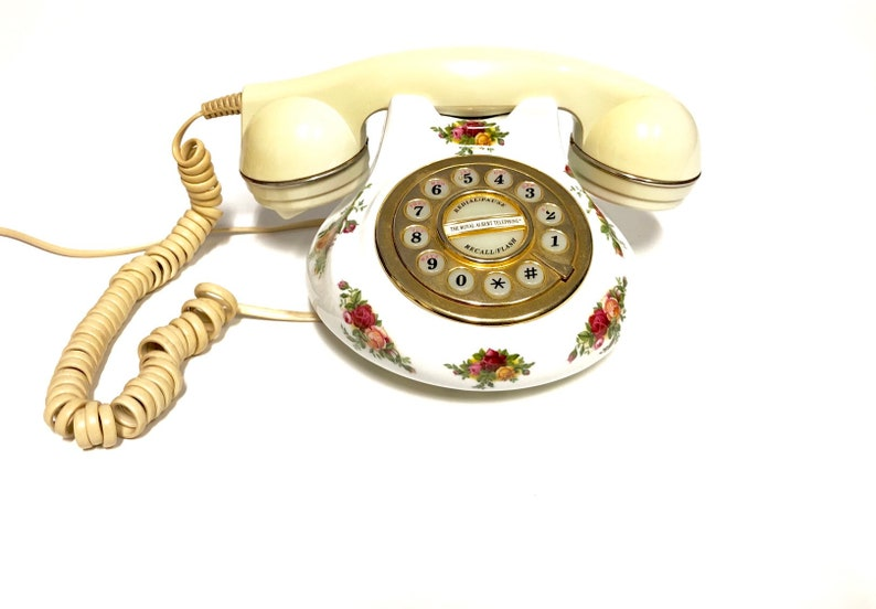 Royal Albert Old Country Roses Porcelain Telephone Home Decor Accent Vintage England Handset DISPLAY ONLY