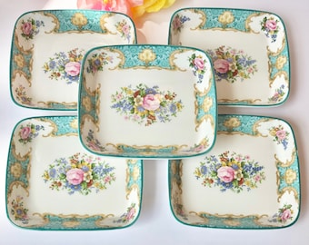 RARE 5pcs Royal Albert Lady Ascot ENGLAND Green Trim Trays Candy Sweet Meat Dish Ornate Collectors Rare Fancy Serveware Nuts Snack Wedding