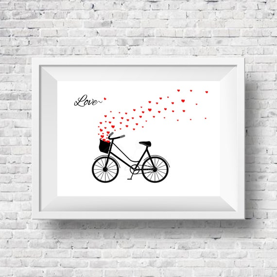 Love Cycle Printable Wall Art Black White And Red Hearts Etsy