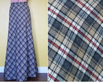 Vintage Plaid Maxi Skirt - 1960/70's Tartan Plaid Full Length Skirt by Century of Boston - Tan Gray Red - Size Small