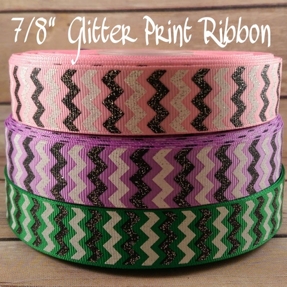 "5 yards 7//8/"" My Only Sunshine Gray Chevron Printed Grosgrain Ribbon"
