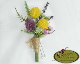Wildflower Boutonniere / Billy Ball Boutonniere / Craspedia Boutonniere / Rustic Boutonniere / Silk Boutonniere / Wild Flower Boutonniere