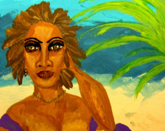 SANDY BARGE Painting Acrylic, 16x20 Framed Canvas Panel Ethnic Folk Art women of color, beach art, African American Artist Stacey Torres