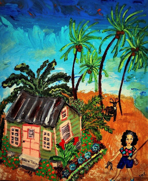 """Today Was Catchin' Day - Acrylic Caribbean Art Painting 16 x 20"""" canvas panel, Ethnic Art; Outsider Folk Artist Stacey Torres"""