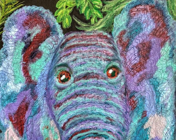 "Stylized Oil Pastel, ""ELLIE,"" a colorful little elephant in shades of teal and purple, animals, on 12 x 16"" canvas panel, by Stacey Torres"