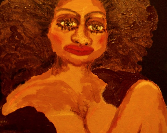 """Acrylic Oil Pastel Painting (Framed) """"MRS JONES"""" Abstract Folk Art sexy mature woman 12 x 16"""" Indiana Artist Stacey Torres 2015"""