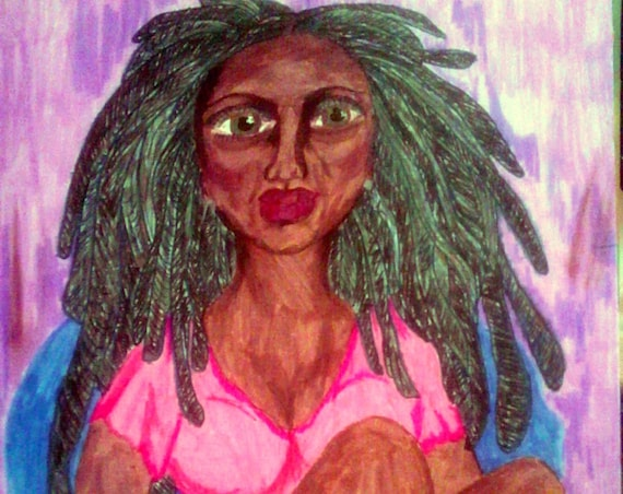 Too Old For Your Crap Marker Drawing PRINT Ethnic Folk Art women of color African American Artist Stacey Torres greenish eyes pink dress
