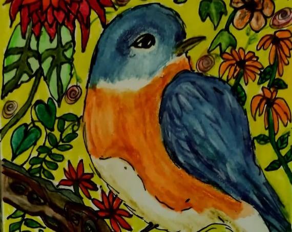 "CHIP Watercolor Pencils on  6x4"" Watercolor Paper, Birds, Folk Art Bird, Folk Artist Stacey Torres, wildlife nature colorful art"