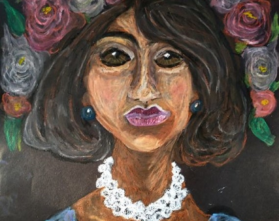 """AIDA. 2021, Oil Pastel Drawing, on vintage black 18x12"""" art paper, Portrait, Outsider Folk Art, by African American Artist Stacey Torres"""