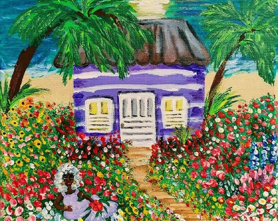 """Sunset At The Chattel House - Acrylic Caribbean Art Painting 10 x10"""" canvas, Black Art; Outsider Folk Artist Stacey Torres"""