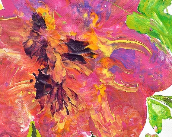 "TAHITIAN LADIES, Acrylic Painting on 16 x 6.5"" (irregular. read details)* Canvas Panel Abstract Impressionism, Stacey Torres Artist, Flowers"