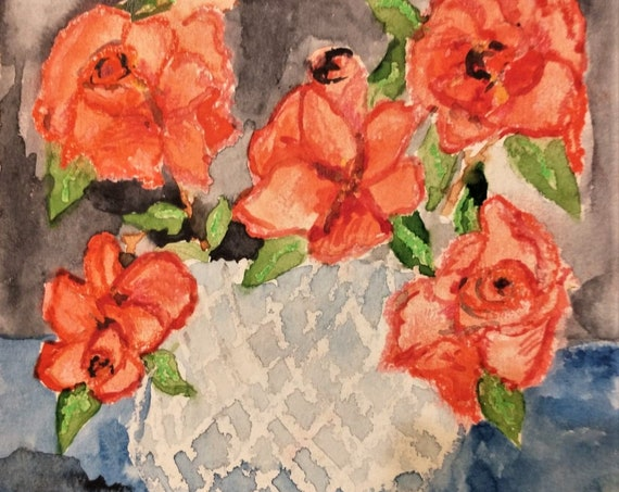 "SISTER ROSES, Watercolors & Oil Pastel Painting Still Life on 6x6"" watercolor paper, pink roses in bowl, by Hoosier Artist Stacey Torres"