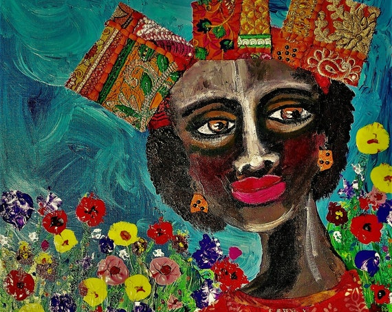 Mixed Media Painting on Canvas Panel QUEEN LILY, an elegant black woman by African American Folk Artist Stacey Torres Black Art ethnic
