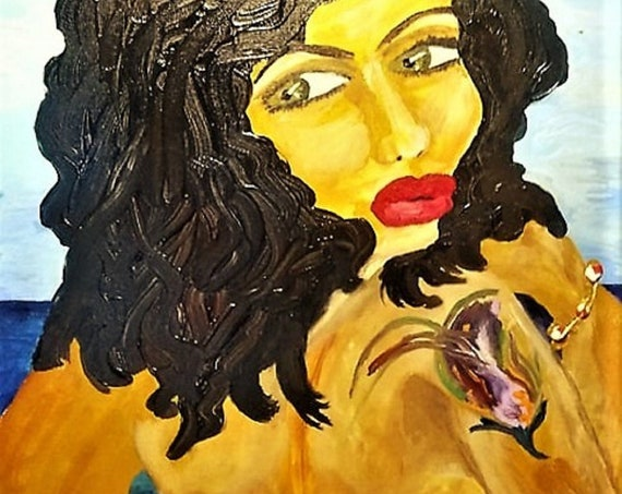 "Acrylic painting of a nude woman w/dark hair and hazel eyes, on 18 x 24"" Canvas Panel, unframed, by African American Artist Stacey Torres"
