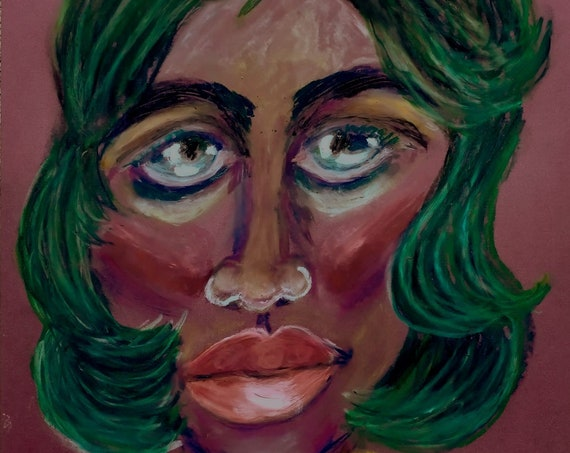 """JUNE. 2021, Oil Pastel Drawing, on 12.5x9.5""""  plum satin art paper, Portrait, Outsider Folk Art, by African American Artist Stacey Torres"""