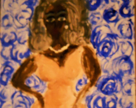 Original Hand Painted Blank Note/Greeting Card w/Envelope, Acrylic Painting, Signed Artwork by Stacey Torres, Card 28, Black Woman