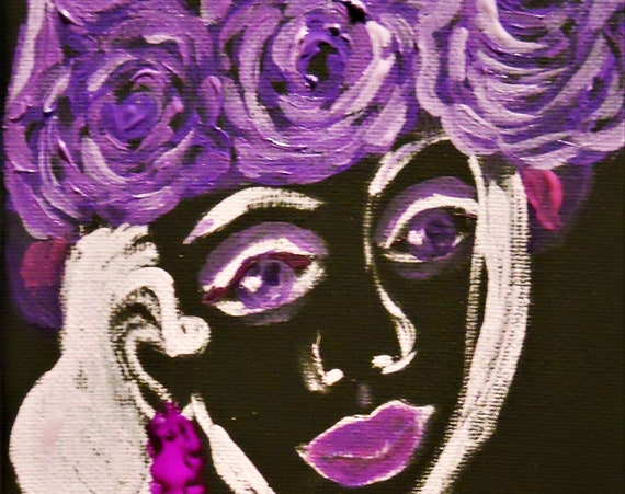 "Acrylic painting on 5x7"" black canvas, woman w/purple roses in her hair, by Award Winning Outsider Folk Artist, Stacey Torres, ""CHARMED"""