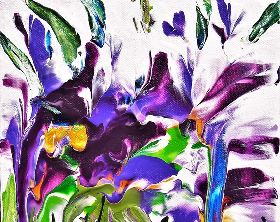 "IRIS REBELLION, Acrylic Floral Painting, Abstract Impressionism, Iris flowers on a 10 x 8"" canvas, shades of purple and green"