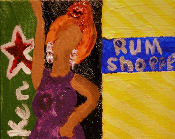 "At De Rum Shoppe, Acrylic Painting on 7 x 5"" Canvas Panel, Stacey Torres Ethnic Folk Art, from Island Goddess Series Afro-Caribbean Folk Art"