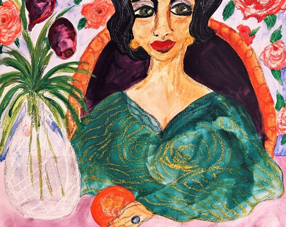 "Original Oil Pastel Watercolor Painting, ""The Blood Orange,'' by Award Winning Folk Artist Stacey Torres, woman holding an orange"