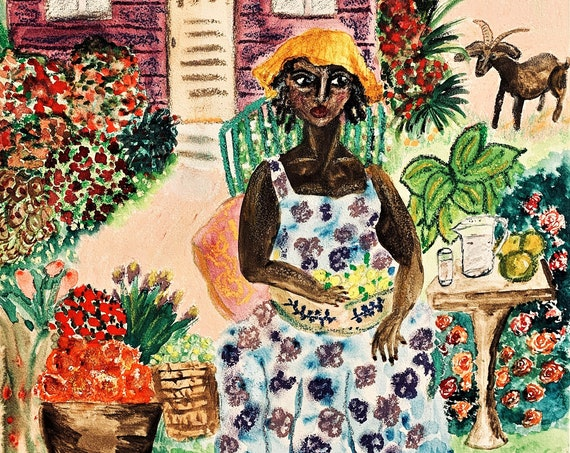"Original Oil Pastel Watercolor Painting, ""Aunt Clarrie,'' by Award Winning Folk Artist Stacey Torres, woman sells fruit & coconut water"