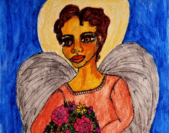 Original Watercolor, BATH KOL, Black Art, portrait of angel with bouquet, African American Art by Stacey Torres, female angels, spirit guide